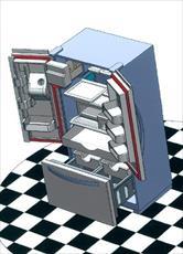 پروژه با موضوع طراحی یخچال به همراه اسمبل کامل پارت ها و قیدبندی